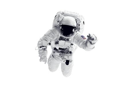 Astronauta in tuta spaziale su sfondo bianco.