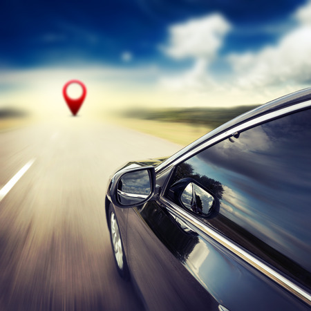 Blurred road and car and gps pin, speed motion background