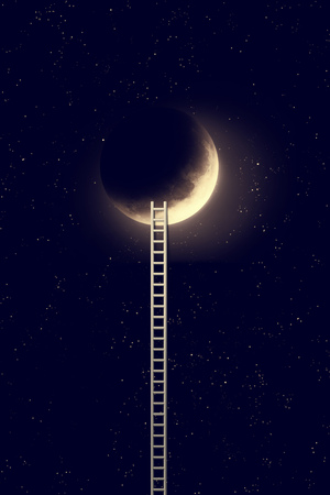 Night sky with moon and step ladder.