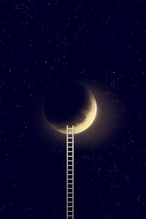Night sky with moon and step ladder. 写真素材 - 118403155