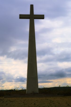 christian cross silhouette and the clouds Stock Photo