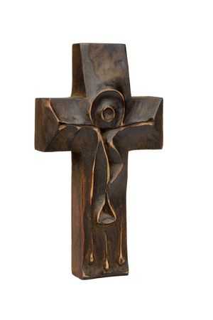 Wooden cross on a white . Isolated image. Stock Photo