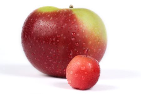 Apple and Paradise apple (Malus pumila), close-up Stock Photo