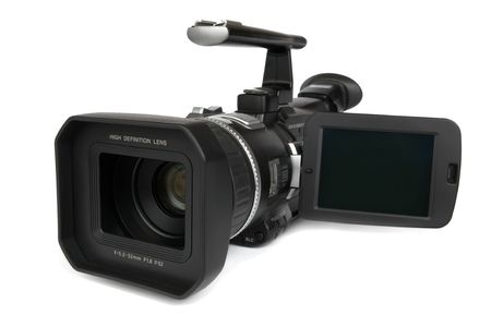 Semi-professional 3CCD Digital Video Camera isolated on white.