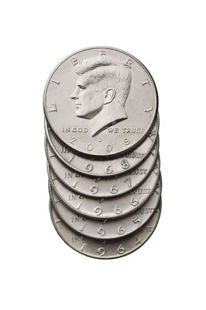 John F. Kennedy half dollar. Isolated image