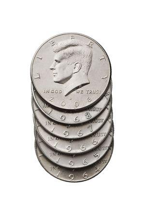 John F. Kennedy half dollar. Isolated image
