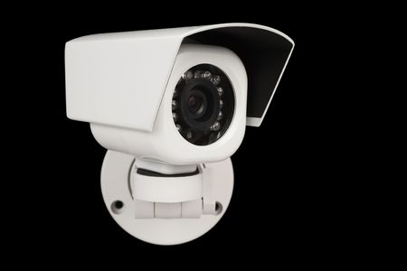 CCTV security digital camera over black Stock Photo
