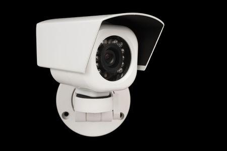 CCTV security digital camera over black Stock Photo
