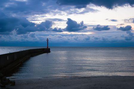 Beautiful sunset, with Marine signaling