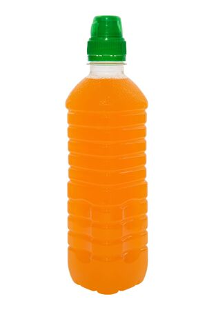 Orange juice in a bottle Isolated image photo