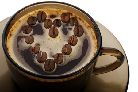 bar ware: Brown coffee cup with heart on a white