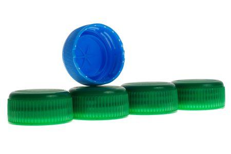 Green, blue PET bottle caps