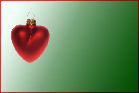 Red heart - christmas ball