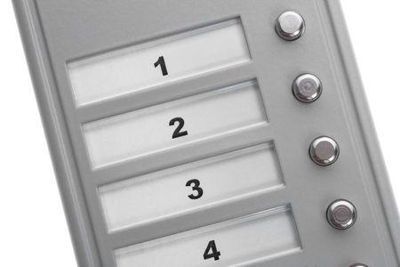 An intercom doorbell panel isolated on white