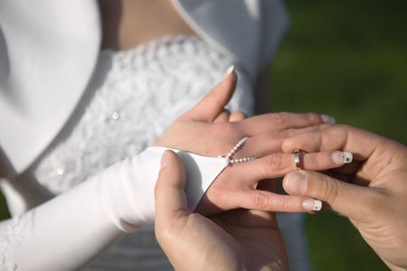Wedding rings exchange between groom and bride