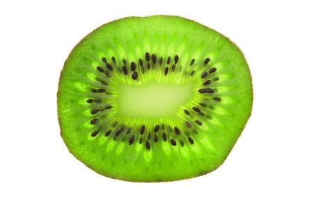 Close up of kiwi slice in isolated white background