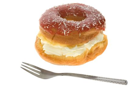 Puff cake with cream over white background Stock Photo