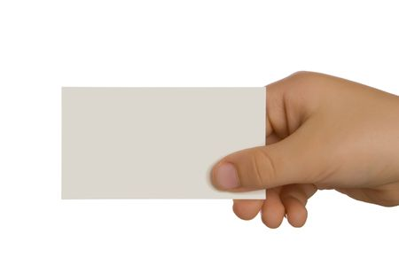 Hand holding a blank business card. Add your own text. Stock Photo