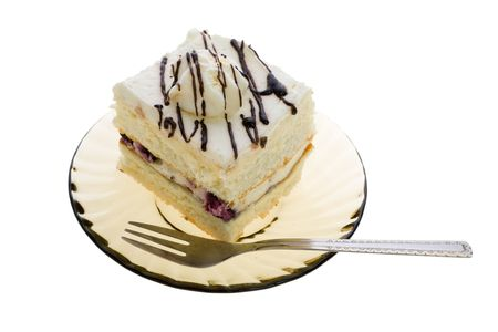 Cake on plate and fork, isolated on white background