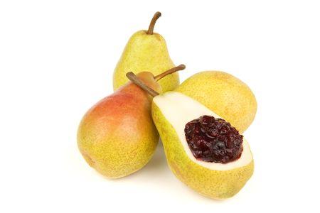 Pears and sweet cherry jam  Stock Photo