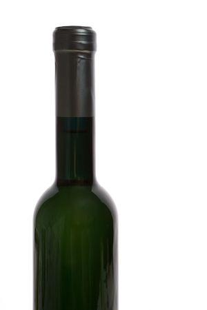 Isolated white wine bottle on white background.