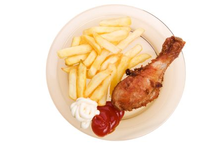 Fried chicken and french fries on a white background Stock Photo