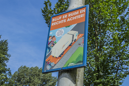 Funny Dutch Sign Be Aware Of The Dead Angle Of A Truck At Amsterdam The Netherlands 2018