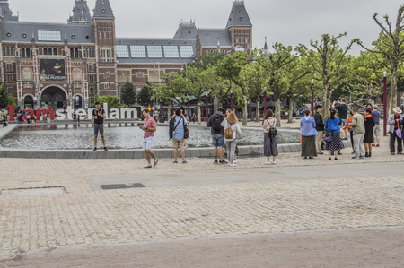 Making Photos And Selfie At The Museumplein At Amsterdam The Netherlands 2018