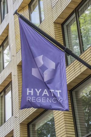 Flag Outside The Hyatt Hotel At Amsterdam East The Netherlands 2018