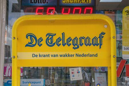 Billboard Selling De Telegraaf Newspaper At Amsterdam The Netherlands 2019