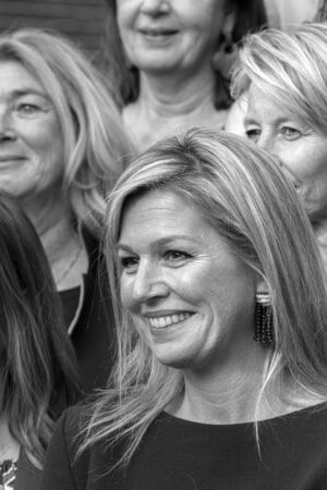 Close Up Queen Maxima At The Museum Van Loon At Amsterdam The Netherlands 2019 In Black And White Banco de Imagens - 133075772