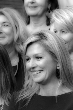 Close Up Queen Maxima At The Museum Van Loon At Amsterdam The Netherlands 2019 In Black And White