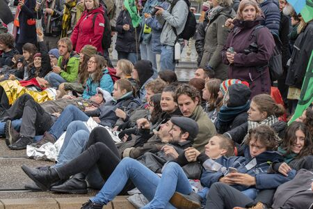 Protesters Lying On The Ground At The Blauwebrug At The Climate Demonstration From The Extinction Rebellion Group At Amsterdam The Netherlands 2019