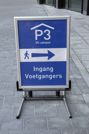 Billboard P3 VU Campus Entrance Pedestrians At Amsterdam The Netherlands 2019