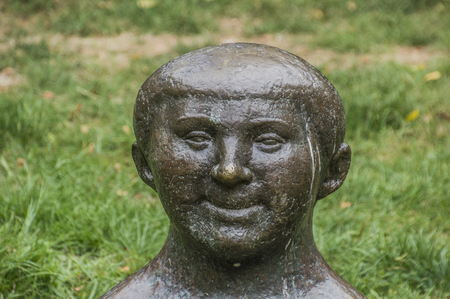 Statue Bolgewas From Paul Koning At The Oosterpark At Amsterdam East The Netherlands 2018. It Looks Like Donald Trump