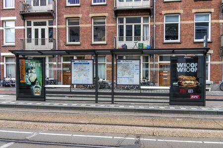 Przystanek autobusowy i tramwajowy przy ulicy Rijpstraat w Amsterdamie Holandia 2018