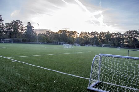 Amateurvoetbalveld in de ochtend in Amsterdam, Nederland 2018