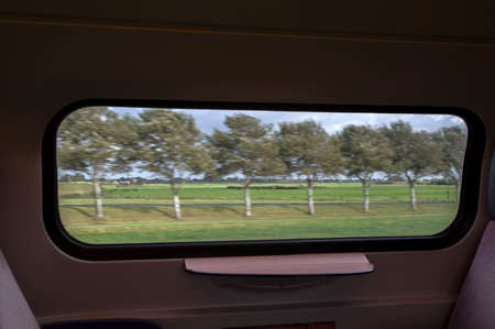 Dutch Landscape Passing By Inside A Train Station At Schagen The Netherlands 2019 Editoriali