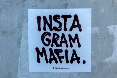 Sticker Instagram Mafia At Amsterdam The Netherlands 2020 Editorial