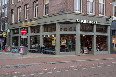 Starbucks At The Ferdinand Bolstraat Amsterdam The Netherlands 2020 Editorial