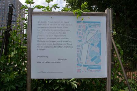 Billboard Jewish Cemetery Zeeburg At Amsterdam The Netherlands 22-6-2020 Sajtókép