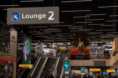 Billboards Behind The Gates Of Schiphol At Amsterdam The Netherlands 12-12-2019 Editorial
