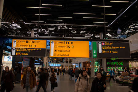 Direction Signs Behind The Gates Of Schiphol At Amsterdam The Netherlands 12-12-2019 Editorial