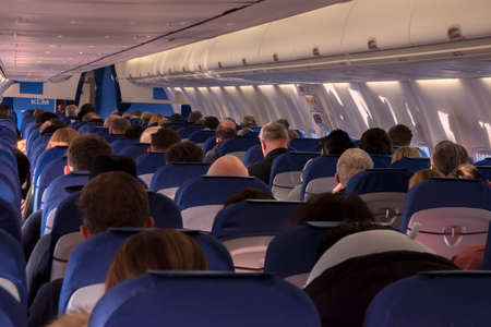 Inside A KLM Plane At Manchester Airport The Netherlands 9-12-2019