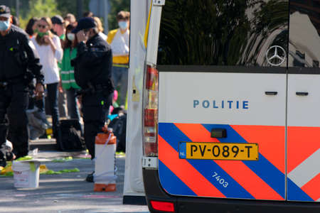 Backside Of A Police Car At The Rebellion Extinction Demonstration At Amsterdam The Netherlands 21-9-2020