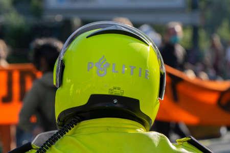 Backside Police Motor Helmet At Amsterdam The Netherlands 21-9-2020
