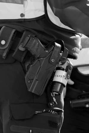 Close Up P99 Walther Police Gun At Amsterdam The Netherlands