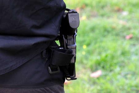 Close Up P99 Walther Police Gun At Amsterdam
