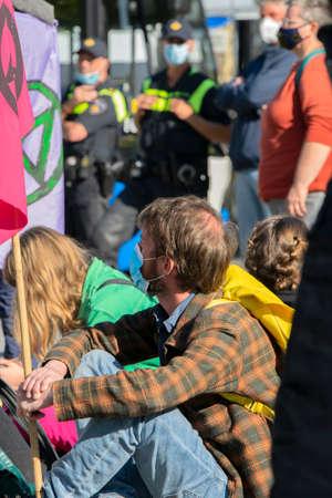 Rebellion Extinction Demonstrators Sitting On The Street At Amsterdam The Netherlands 9/25/2020 Editorial
