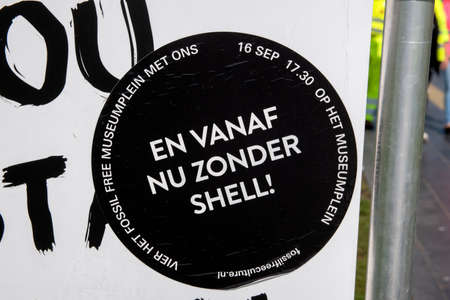 Sticker Against Shell At Amsterdam The Netherlands 19-9-2020 Editorial